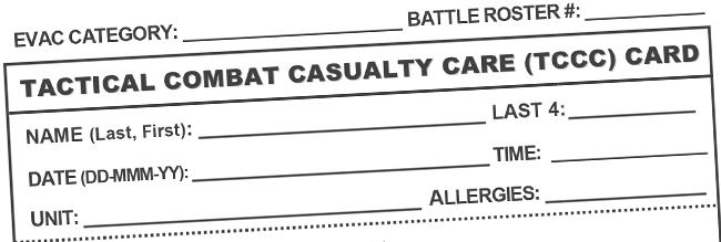 Tactical Combat Casualty Care (TCCC) Card