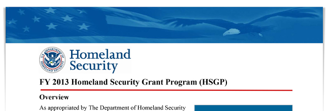 FY 2013 Homeland Security Grant Program (HSGP)